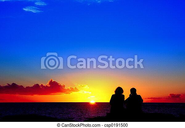 Liebhaber, Sonnenuntergang - csp0191500