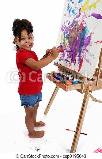 女孩, 畫, 孩子 - csp0195043
