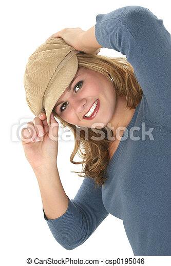 adolescente, menina, chapéu - csp0195046