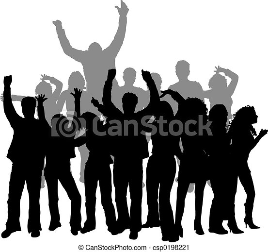 Clipart of Disco dancing - Group of young people dancing ...