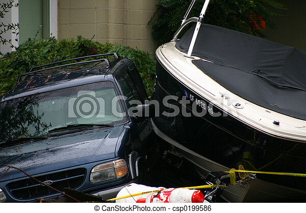 Cars Crashing Into Each Other Car And Boat Crash Into Each
