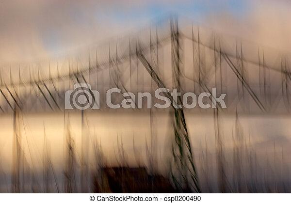 foto, astoria-megler, ponte, impressionismo - csp0200490