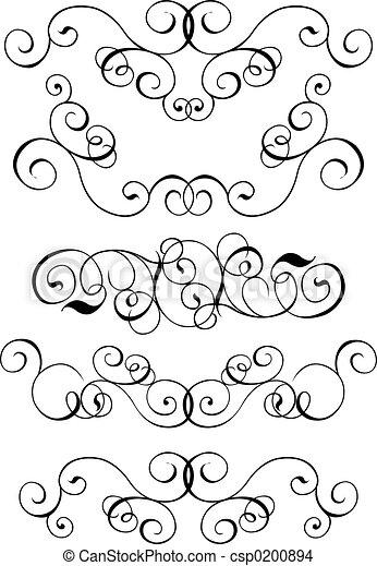 Scroll, cartouche, decor, vector illustration - csp0200894