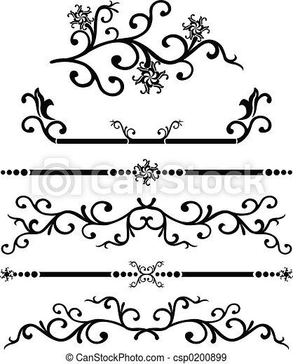 Scroll, cartouche, decor, vector illustration   - csp0200899