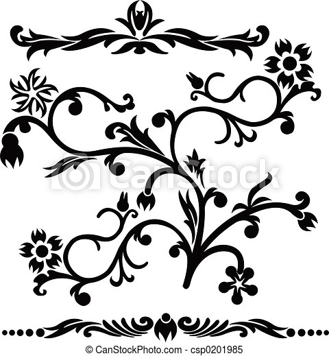 Scroll, cartouche, decor, vector illustration - csp0201985