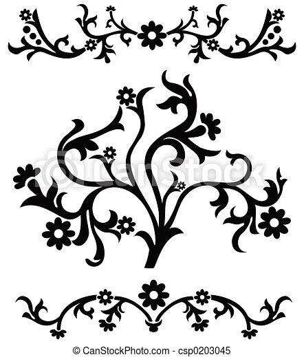 Scroll, cartouche, decor, vector illustration - csp0203045
