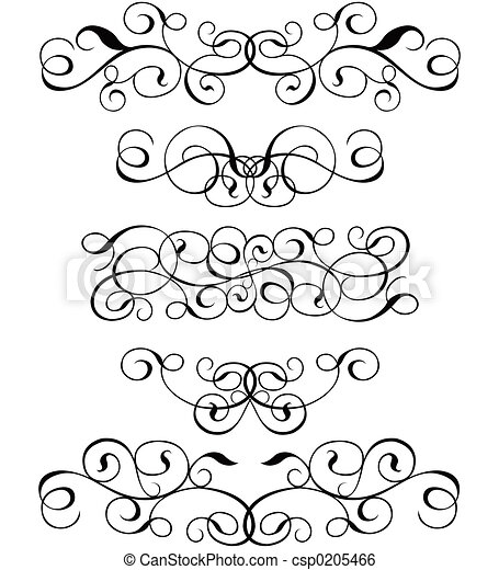 Scroll, cartouche, decor, vector illustration   - csp0205466