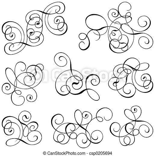 Scroll, cartouche, decor, vector illustration - csp0205694