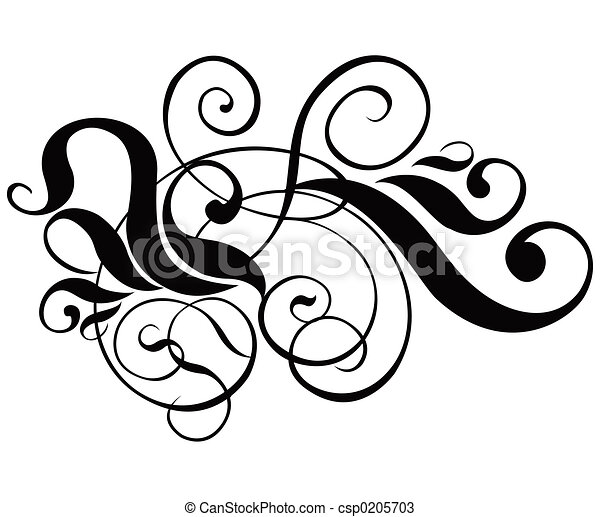 Scroll, cartouche, decor, vector illustration - csp0205703