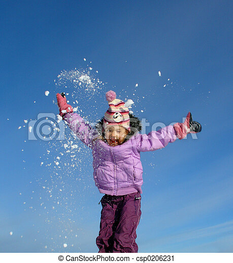 jumping winter girl - csp0206231