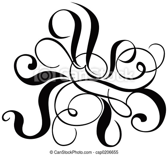Scroll, cartouche, decor, vector illustration - csp0206655