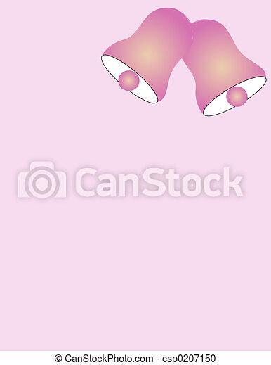 Wedding Bells csp0207150 Wedding bells over light pink background