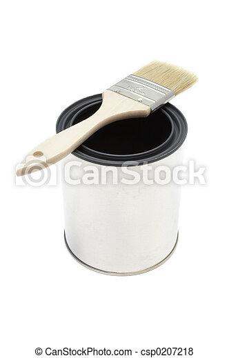 畫, 水桶, 刷子 - csp0207218