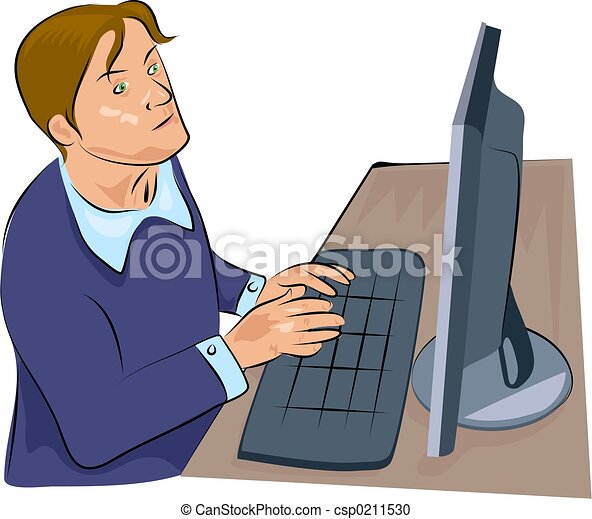Stock de Ilustration de computadora, hombre - hombre ...