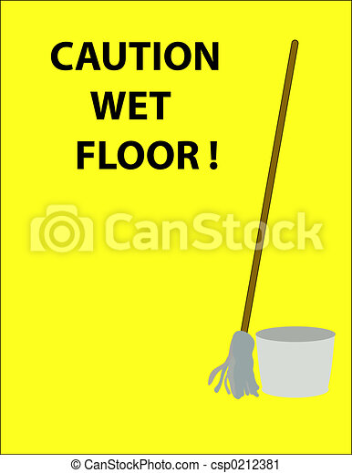 Clipart Of Caution Sign Caution Wet Floor Sign With Mop