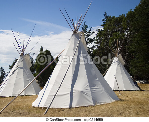Stock Photographs of Three Indian Teepees - Three native american ...