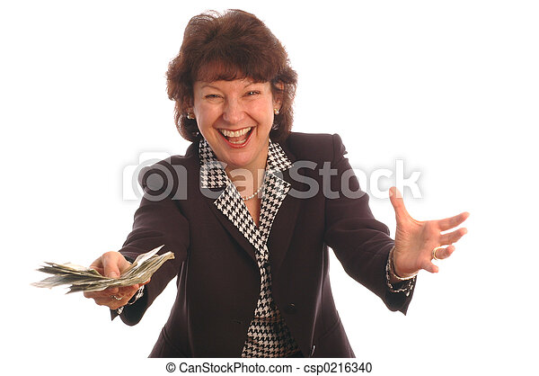 elated woman with cash 412 - csp0216340