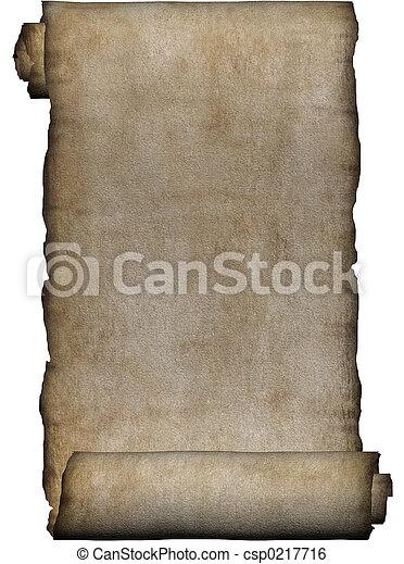 Manuscript, rough roll of parchment - csp0217716
