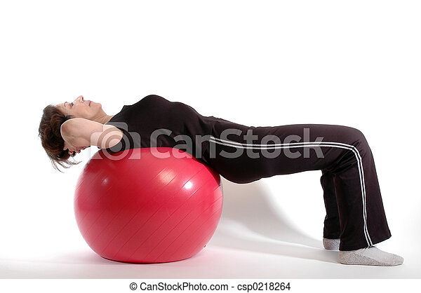 woman on fitness ball 904 - csp0218264
