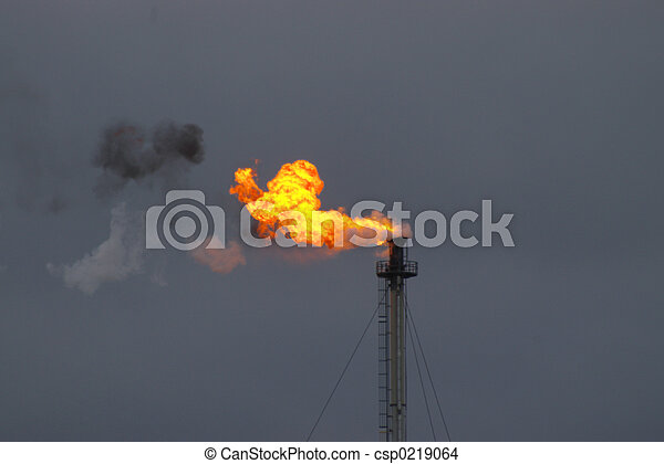Smoking flame from industry - csp0219064