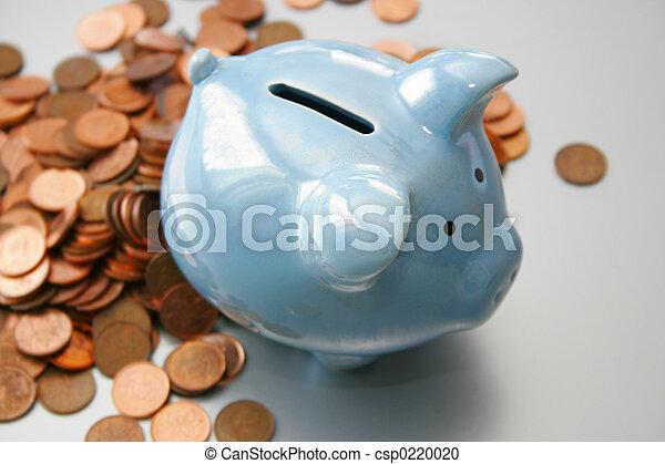 blaues, Schweinchen,  bank - csp0220020