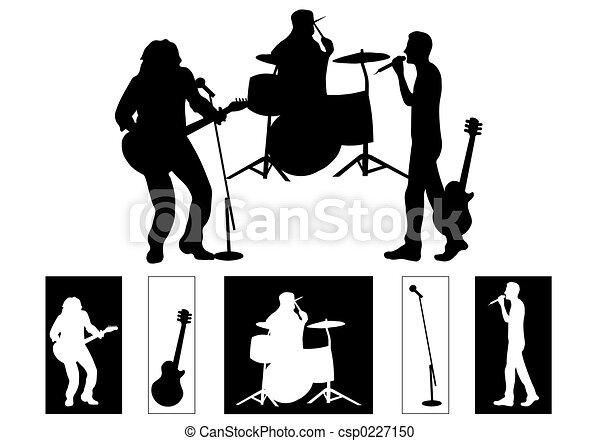 스톡 일러스트 - 밴드 - 스톡 일러스트, 저작권 없는 ... Rock Band Silhouette