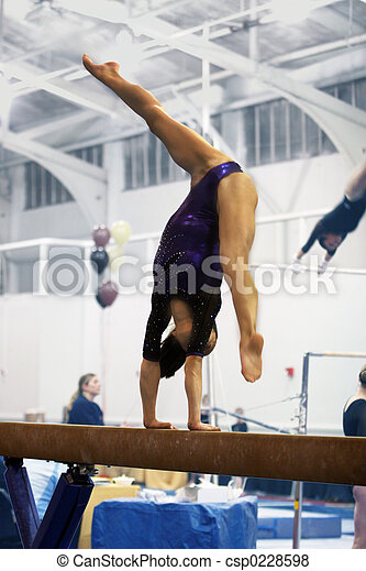 Gymnast on beam - csp0228598