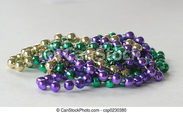 Mardi Gras Beads close up full - csp0230380
