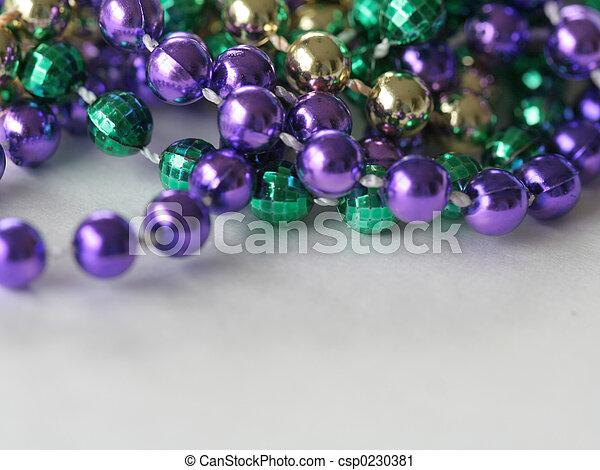 Mardi Gras Beads close up top - csp0230381