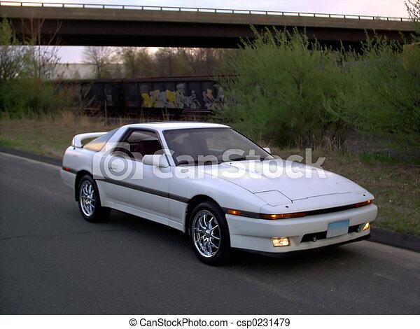 Stock Photographs Of White Mk3 Toyota Supra Sports Car