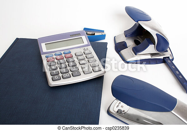 blue office objects - csp0235839