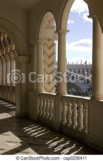 Venetian Balcony Columns and Arches in Las Vegas