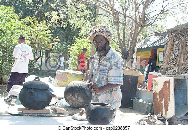 rasta man preparing food 320 - csp0238857
