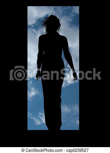 Woman door - csp0239527