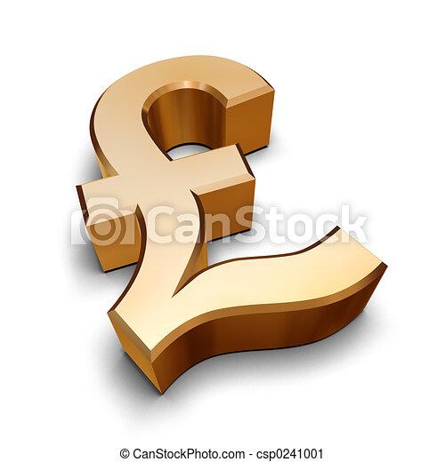 3D golden Pound symbol - csp0241001