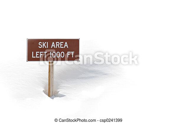 ski area sign in snow - csp0241399