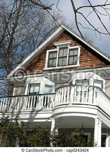 Stock photo of house home balcony nice looking house for Nice looking houses pictures