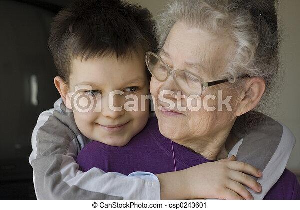 boy witrh grandma - csp0243601
