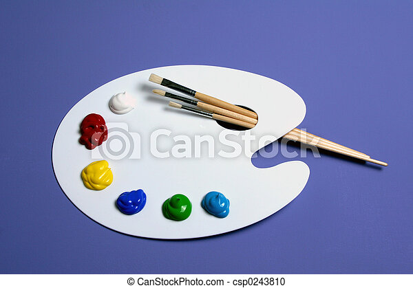 Artist Paint Palette with Paints and Brushes, Symbolic of Art - csp0243810
