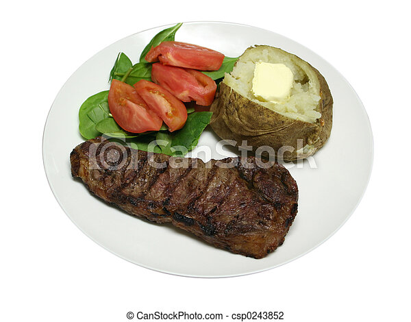Isolated Grilled Steak dinner - csp0243852