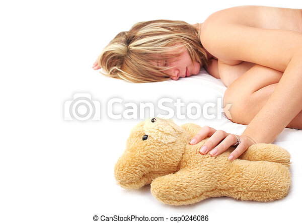 Asleep with Teddy - csp0246086