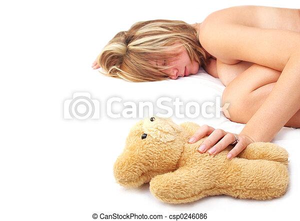 Asleep with Teddy - csp0246086
