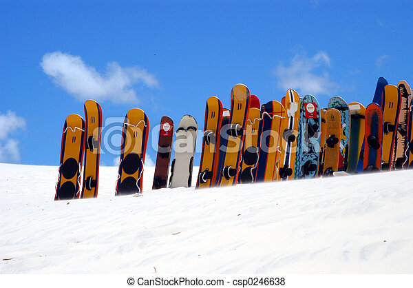 Snowboards lined up - csp0246638