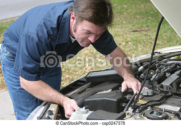 Auto Mechanic Checks Engine - csp0247378