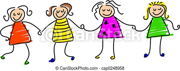 Group Girls Clipart Group of Girl Friends Holding