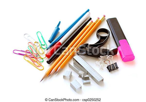 School office supplies on white - csp0250252