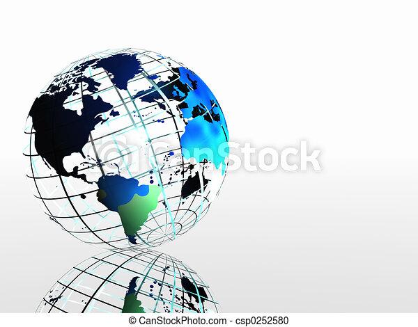 World map on grid. - csp0252580