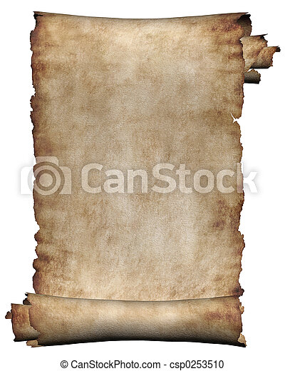 Manuscript, rough roll of parchment - csp0253510
