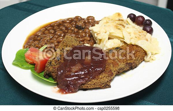 Glazed pork chop meal - csp0255598