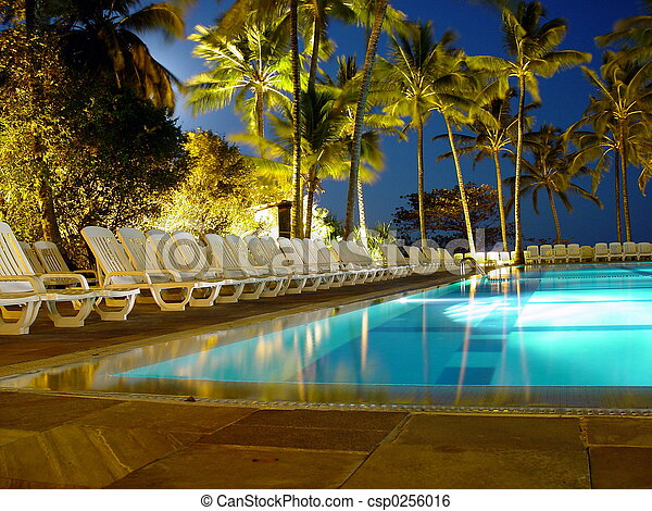 Stock Image Of Moon Bath Swimming Pool At Night Csp0256016 Search Stock Photography Photos